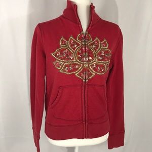 Lucky Brand embroidered lotus Tibet zip up